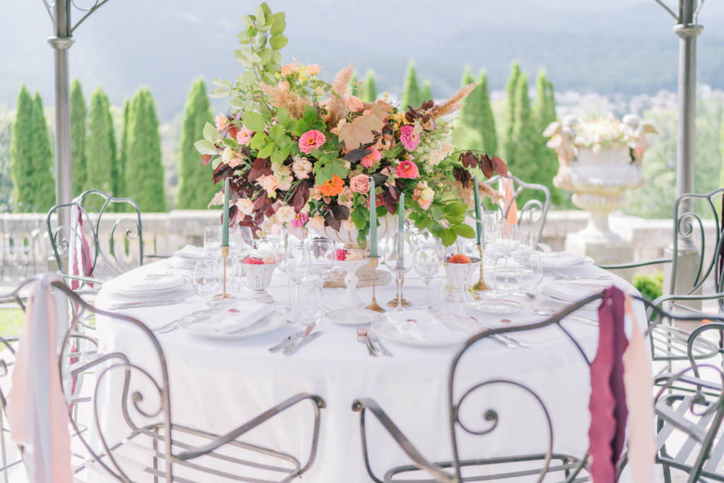 Wedding table set up in autumn deep colors