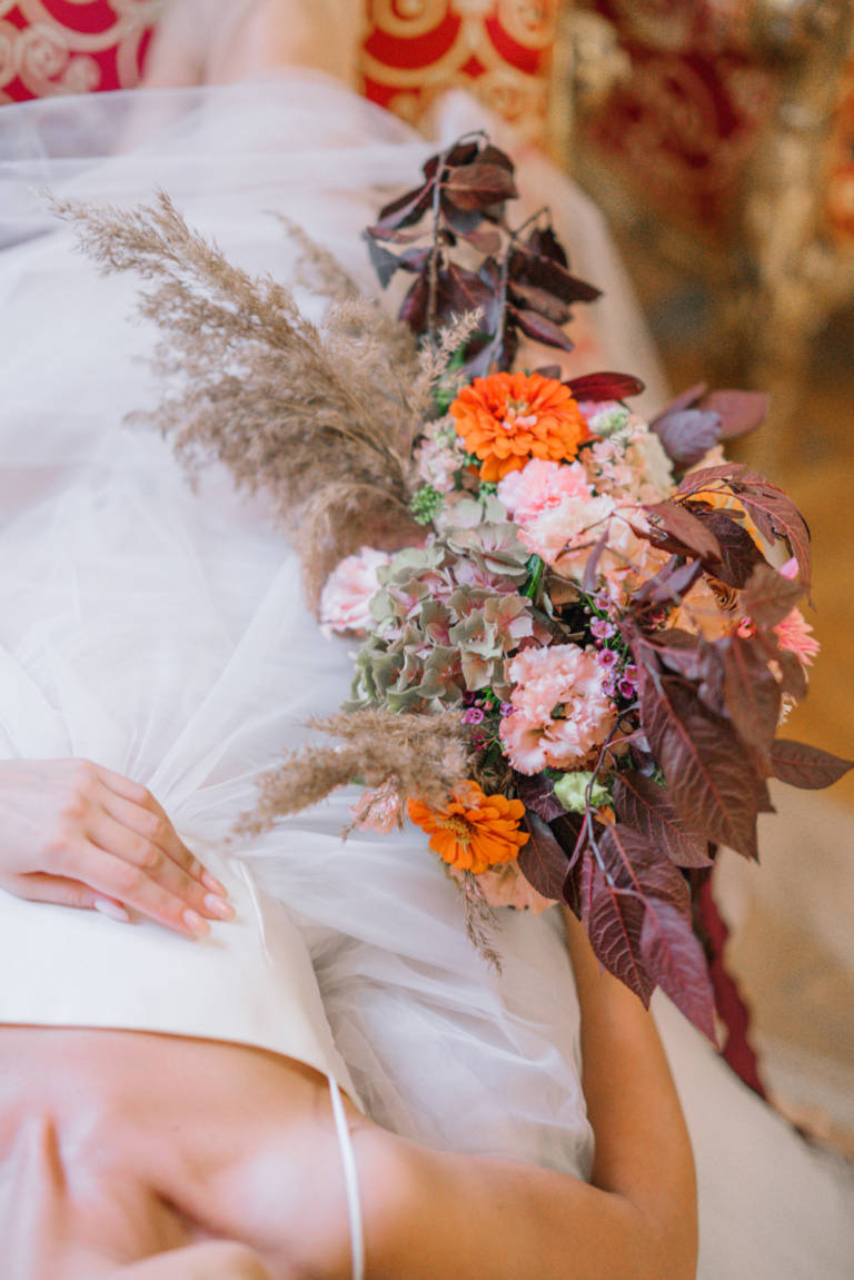 Colorful rich autumn bridal Bouquet